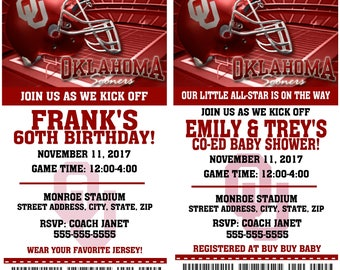 Printable Oklahoma Sooners College Football Birthday Party Invitation NCAA Ticket Invitation Baby Shower Invitations