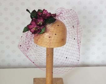 Purple Plum Birdcage Veil Fascinator Vintage Velvet Peony Flowers Green Leaves Amethyst Swarovski Crystals on Hair Comb Wedding mulberry