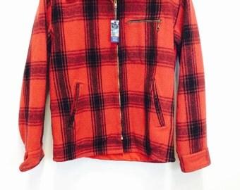 Vintage wool coat johnson wool coat red buffalo plaid coat red wool coat red wool jacket red hunting coat wool hunting jacket