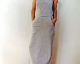 Vintage overall dress overall maxi dress long summer dress minimalist dress sweatshirt dress gray dress grey dress long overall dress size s