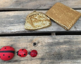 Rare Vintage Gold Mesh Coin Purse and Wallet ~ Made in Germany,Evening Purse Set,Vintage Fashion, Metal Mesh, Movie Prop, Mad Men, Billfold