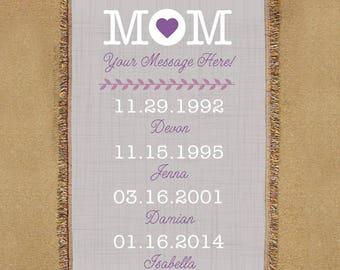 Custom Mom Tapestry Throw, Custom Mom Throw, Custom Mom Blanket