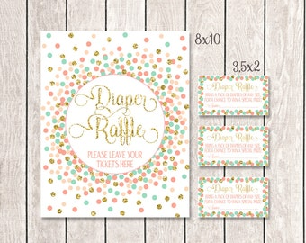 Diaper Raffle Sign Diaper Raffle Tickets Coral Mint Gold Confetti Baby Shower Games Baby Shower Diaper Raffle Sign And Tickets Printable