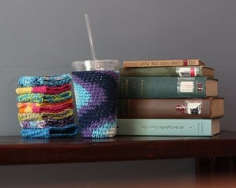Iced Coffee Cozy // Vegan Ombre Crochet Iced Coffee Cozy // Blue and Purple To Go Coffee Cozy // Iced Coffee Cup Cover