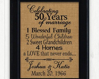 50th Anniversry Gift, 50th Anniversary, Anniversary Gift for Parents,25 Year Wedding Anniversary, Unique Anniversary Gift