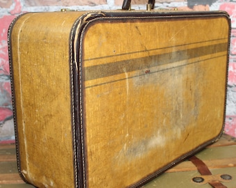 Vintage Striped Tweed Suitcase,Large Tweed Suitcase, Old Suitcases, Old Luggage, Vintage Luggage, Suitcases, Suitcase Photo Prop, Photo Prop