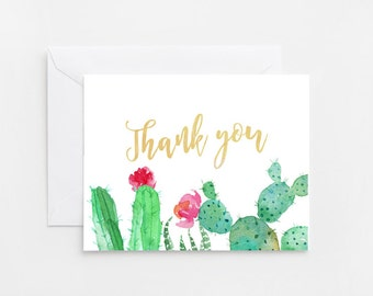 Cactus Thank You Card, Printable Card (524)