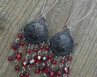 Gunmetal Chandelier Earrings, Scarlet Red Czech Glass Beads, Kidney earwires, Dangle Earrings, boho earrings, boho jewelry, dangle drop