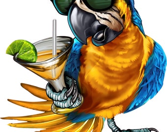 5 O'clock somewhere decal, full color parrot decal, drinking parrot sticker, parrot laptop sticker, vinyl decal, vinyl sticker