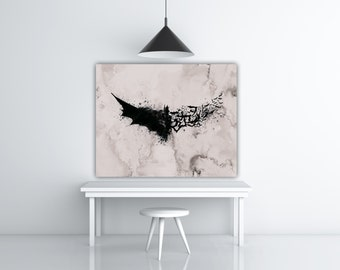 Batman Watercolor Splash, DC Superhero Wall Art, Batman Gift, DC Comics Poster, Batman Logo Art, Movie Poster, Bat Art, Gray Wall Art