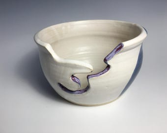 Pottery Yarn Bowl, Blue, White, Purple