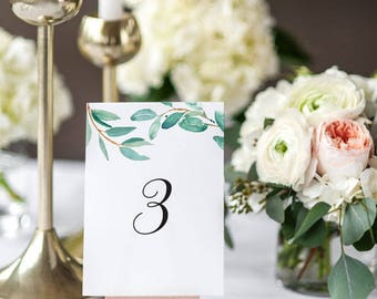 Printable Table Number Cards - Watercolor Botanical Wedding Table Numbers Printable - Wedding Reception - Number 1 to 20 - (Item code: P364)