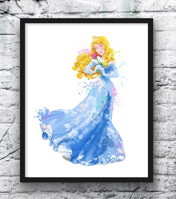 Sleeping Beauty Watercolor Print Princess Aurora Painting
