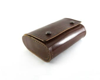 leather bag wallet, brown bag in hand, brown purse, case for binoculars Vintage Binoculars Leather Case souvenir bag Moscow, brown purse