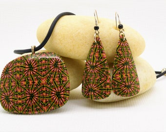 Handmade Jewelry Set. 3 mm Black Leather Cord. Necklace and Earrings created from Polymer Clay. Green, Black and Red.
