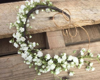 Fresh Baby's breath Wispy flower crown, Petite babys breath crown, half flower crown, Wedding crown, flower girl crown, simple flower crown