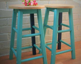 Pair of Tropical Marine Wooden Stools - Painted Turquoise Blue Sea Kitchen