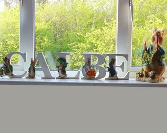Beatrix Potter Personalised Wooden Letters, Name Plaque, Baby Shower and Birthday Letters, Peter Rabbit Letters, Table Decoration