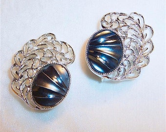 Vintage Sarah Coventry Clip On Earrings Royal Plumage Mid Century Retro 1962