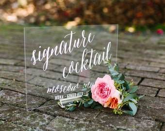 Wedding signs by paperandpineco on etsy signature cocktail sign acrylic wedding bar menu lucite wedding bar menu wedding sign junglespirit