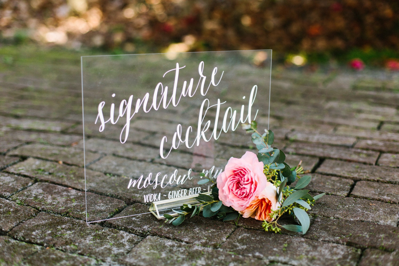 Signature Cocktail Sign Acrylic Wedding Bar Menu Lucite