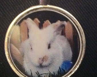 Easter resin white rabbit pendant necklace