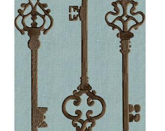 3 vintage keys Embroidery Design - Retro Vintage - EMBROIDERY DESIGN FILE - Instant download - 2 sizes & Hus Dst Jef Pes VP3 Exp formats
