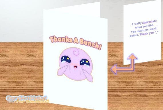 Greeting Card, Printable, Thank You Card, Kawaii Cartoon Character