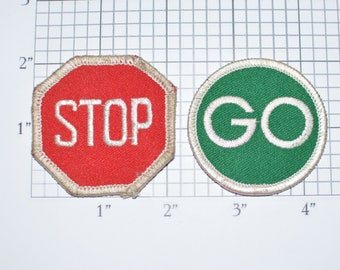 Stop / Go Pair of Iron-on Vintage Embroidered Patches Sewing Applique Clothing Repair Traffic Light Road Signs Jacket Patch Jeans Patch e19o