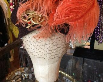 50's Orange Feather Plumed Fabulous Netted Brown Wool Felt Hat 1950's Addie Ann