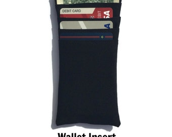 Wallet Organizer, Wallet Insert, Business Card Case, Money Clip, Fabric Wallet, Card Holder, Sleeve, ID Badge, Travel Clutch, Text and Tote®