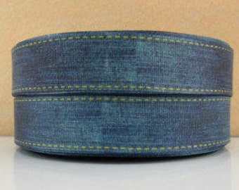 1 inch Blue Denim Blue Jean Like - Printed Grosgrain Ribbon for Hair Bow