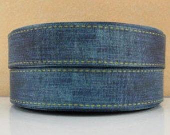 1 inch Blue Denim Blue Jean Like - Printed Grosgrain Ribbon for Hair Bow
