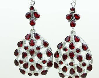 Garnet 925 SOLID (Nickel Free) Sterling Silver Italian Made Dangle Earrings e692