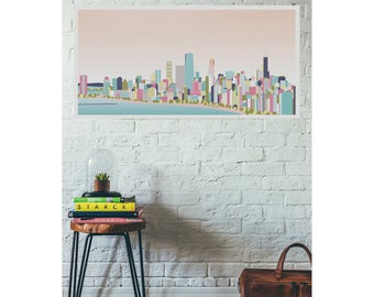 Colorful Chicago Skyline Print