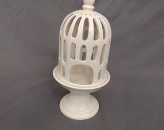 White Glass Birdcage