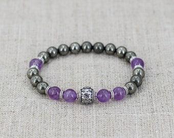 Pyrite bracelet Amethyst bracelet Zodiac bracelet Aquarius bracelet Zodiac jewelry Aquarius jewelry Unisex bracelet Men jewelry for mom gift