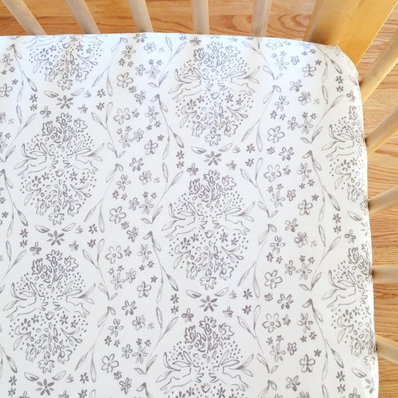 Crib Sheet >> Sommer Sundborn in Warm Grey >> MADE-to-ORDER grey baby bedding, toile toddler sheet set, bunny bassinet, mini crib sheet