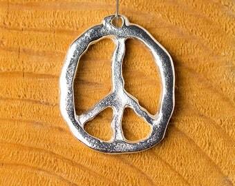Peace Symbol Pendant, Peace Sign Pendant, Hippie Pendant, Bright Silver, Mykonos Greek Metal Casting, 28x34mm, 1 Pc — MK308