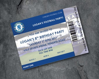 Chelsea Football invitations - kids party - personalised - Free P&P