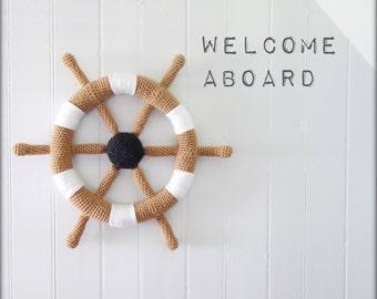 Crochet sailor wall deco boat helm