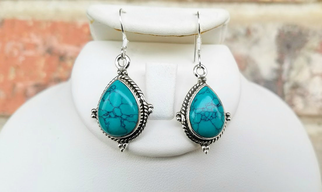 real turquoise earrings genuine turquoise earrings turquoise dangle earrings 6834