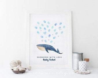 Whale fingerprint guestbook - Nautical thumbprint guestbook alternative - Digital file - baby shower gift - birthday - bridal shower gift