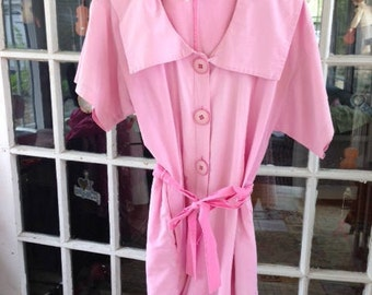 70's bubblegum pink cotton romper with issues