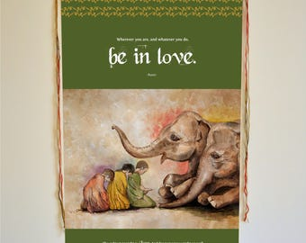 elephant art, Rumi quote, elephant watercolor, wall art, elephant print, Rumi art, love gifts, Inspirational Quote, Love Quote, animal lover