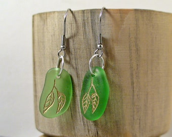 Golden Leaf Sea Glass Earrings - leaf Earrings - Beach Glass Earrings - Bohemian Earrings Sea Glass Jewelry