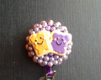 Peanut Butter & Jelly, Best Friends  ID Badge, RN Reel, Holder or Pen Holder with Clip for Work, Conventions, Etc.