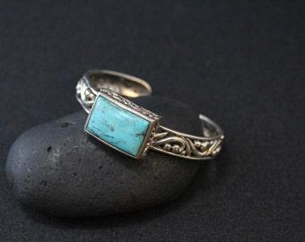 Sterling Silver and Turquoise Designer Signed BARSE Filigree Cuff Bracelet