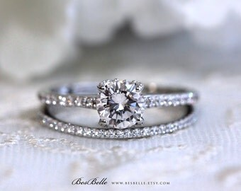 1.55 ct.tw Bridal Set Ring-Brilliant Cut Solitaire-Engagement Ring W/ All or Half Eternity Ring-Micro Pave Set Ring-Sterling Silver [8551-2]