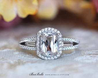 3.05 ct.tw Unique Special Fancy Cut Center Halo Engagement Ring-Tapered Baguette W/ Double Band Setting Ring-Solid Sterling Silver [0254]